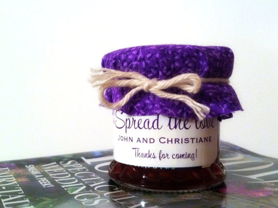 100 Made to Order Custom Jam Jar Covers for 1.5 oz jars - Wedding Favor jelly, jar, honey