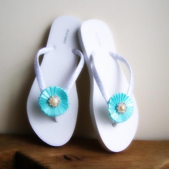 Robin Egg Blue Wedding Flip Flops,Bridesmaids, Flower girls, Bridal Shower, Beach Weddings