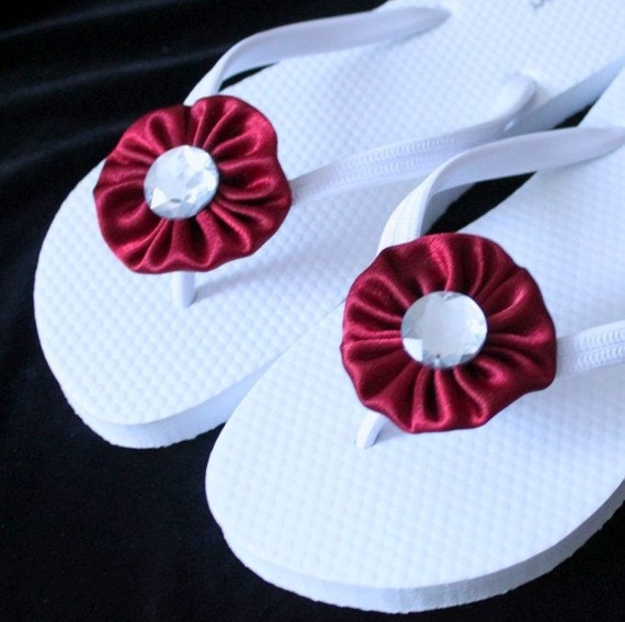 Red and White Wedding Flip Flops / Bridal Flip Flops