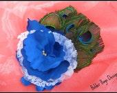 Flower Hair Clip - Peacock Wedding Hair Clip