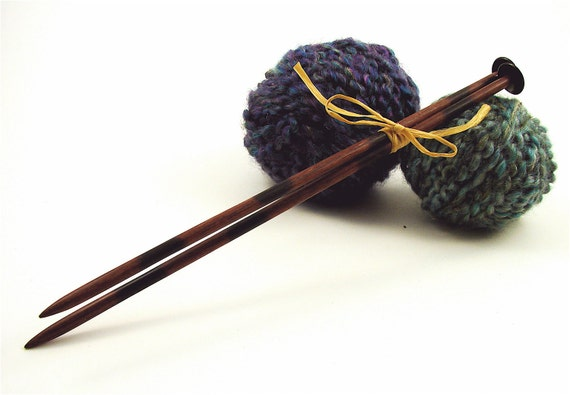 """Hand carved wooden Knitting needles size 9(5.5mm) and 11"""" long. Mdae from reclamed Purple heart wood"""
