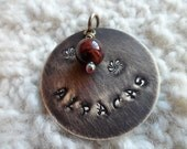Hand Stamped Alpaca Pendant with Tiger's Eye
