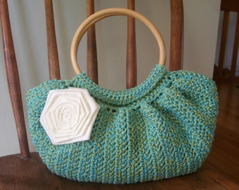 Crochet Fat Bottom Bag Purse Turquoise Blue Green Tweed Lined Pockets Flower Wood Handles