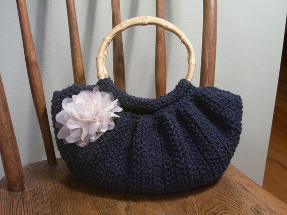Free Crochet Patterns Fat Bottom Bag : Sale Crochet Fat Bottom Bag Purse Navy Blue Indigo Lined