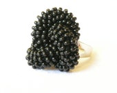 Beaded Ring Black Ring Crocheted Adjustable ring. Made to Order