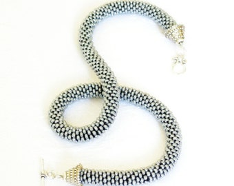 Gray Rope Necklace/Beaded Choker/Minimal Jewel/Crocheted Accessories