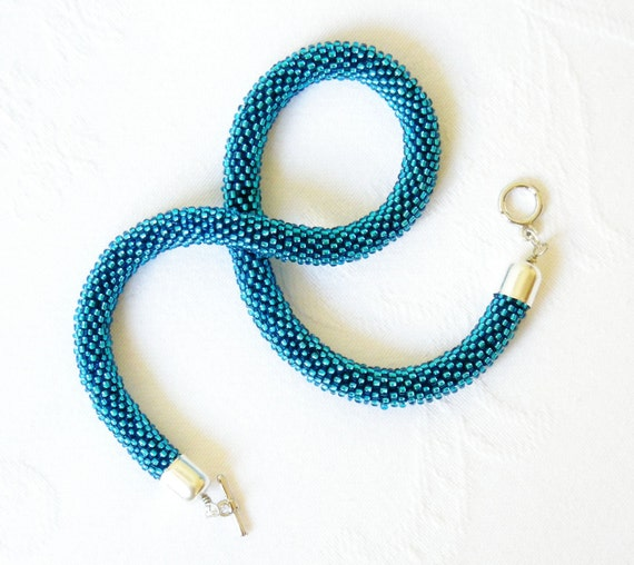 Azure Necklace Beaded Crochet. Made to Order