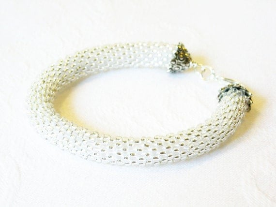 White Bracelet/ Beaded Bangle/Crocheted rope bracelet/Wedding accessories.
