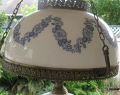 Victorian Hanging parlor Lamp painted milk glass
