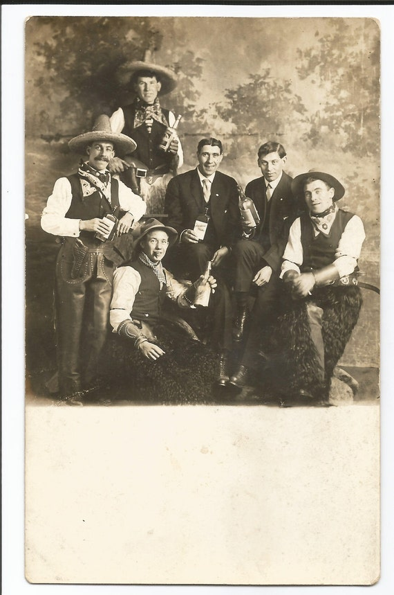 RPPC cowboys and bottles real photo postcard