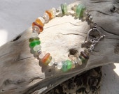 Genuine sea glass  / beach glass bracelet  - Olive, amber, white, gray