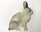 Original Watercolor Painting-Charcoal Bunny