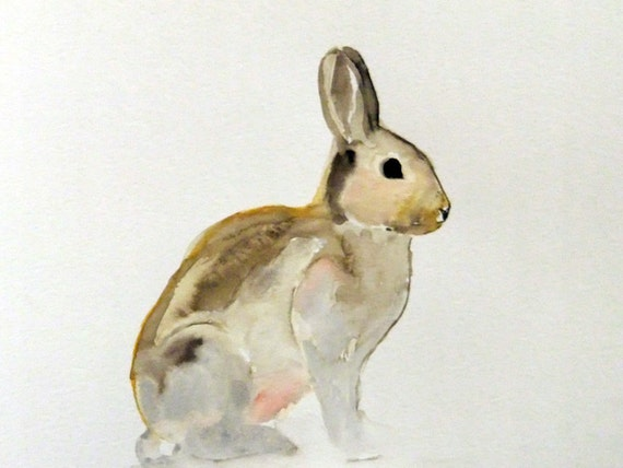 Original Watercolor Painting-Silver Bunny