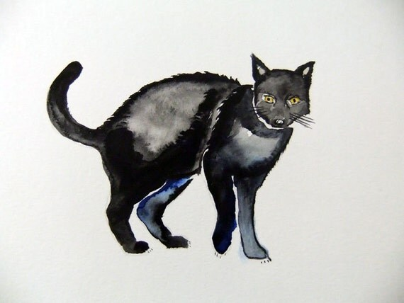 Original Watercolor Painting-Black Cat