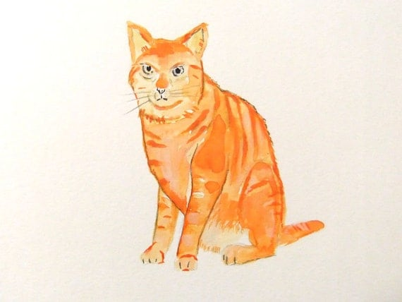 Original Watercolor Painting-Orange Cat