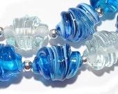 Handmade Lampwork Beads Whirled Aqua & Crystal