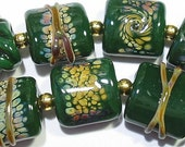 Glass Lampwork Beads Forest Green Raku Nuggets