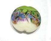 Handmade Lampwork  Bead  Soft  Almond & Green  Gardens Jumbo Lentil