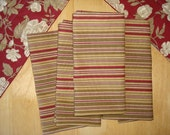 Set of 4 Cloth Napkins in Country Red, Cream and Tan Stripes