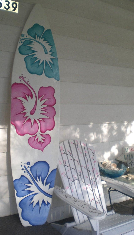 6 foot wood hawaiian surfboard wall art decor or headboard. Black Bedroom Furniture Sets. Home Design Ideas
