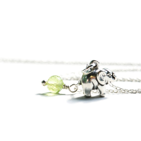 Elephant Necklace Sterling Silver Animal Charm Jewelry Green Peridot Bead