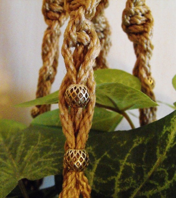 Natural in Tan with large Glass Focal Bead Plant Hanger.