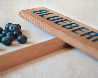 BLUEBERRIES Garden Sign, Painted & Oil Sealed Cedar Wood: Hand Routed Sign, Plant Marker, Garden Marker, Custom Garden Sign, Personalized