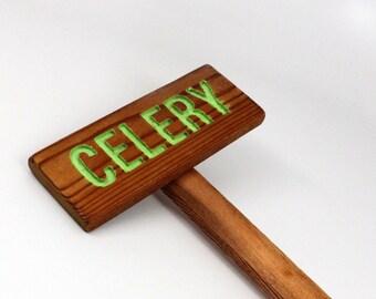 CELERY Garden Sign, Painted & Oil Sealed Cedar Wood: Hand Routed, Garden Marker, Plant Marker, Custom Garden Sign, Personalized Marker