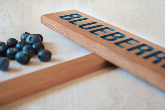 BLUEBERRIES Garden Sign, Painted & Oil Sealed Cedar Wood: Hand Routed Sign, Plant Marker, Garden Marker