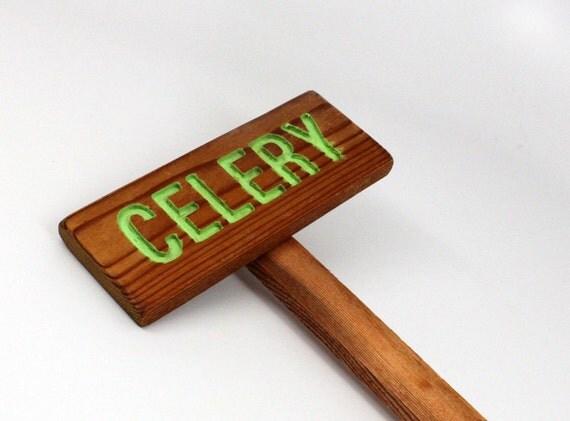 CELREY GardenSign Painted & Oil Sealed Cedar Wood: Hand Routed, Garden Marker, Plant Marker