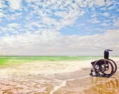 Ocean Waves Scenic Beach Waves Sky -Hope Inspiration -Freedom -Wheelchair Handicap  -Wall Art Photography Fine Art Print