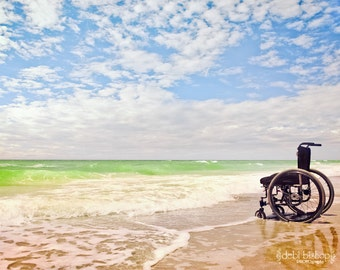 Ocean Waves Scenic Beach Waves Sky -Hope Inspiration -Freedom -Wheelchair Handicap  -Wall Art Photography Fine Art Print