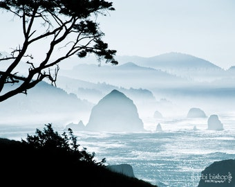 Oregon Coast Northwest - Canon Beach -  Cyan Blue Black -Photography - Ocean Waves - Haystack Rock - Home Decor Fine Art Print