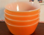 Vintage Federal Glass Set of Four Orange Cereal Bowls/Featured in 4 TREASURY LISTS