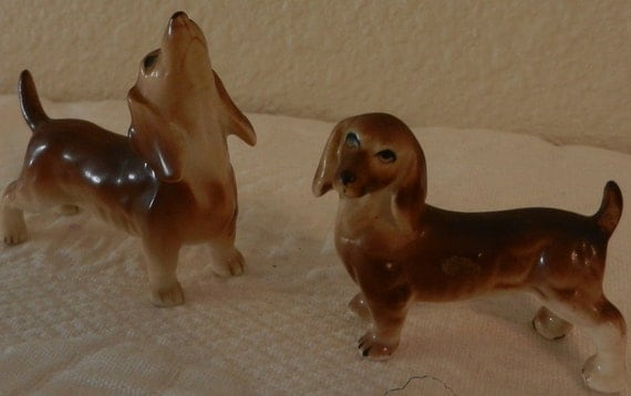 Dachshund Ceramic Set Vintage Red Doxies/Treasury List Item
