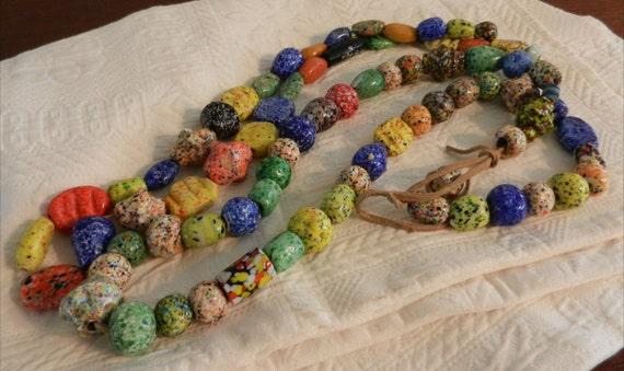 Ceramic Trade Beads / Multi-Colored Strands / Two Strands 79 Beads / DIY Ceramic Beads