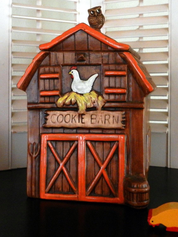 Vintage Ceramic Treasure Craft Cookie Jar With Owl Cookie Barn