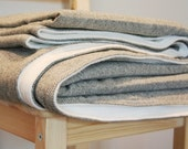 the sheep's blanket 8 x 5 100% grey herringbone wool and off-white anti-pill fleece