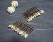 Natural Sea Shell Hair Combs - Set of 2 with tiny spotted shells