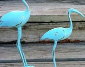 Aqua Vintage Brass Cranes, Shabby Chic Decor, Birds, Beach Decor