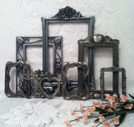 Pewter Open Frame Collection, Victorian Frame Decor, Country French Frames