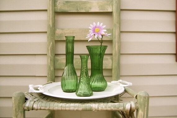 Green Glass Vase Collection 2 / Vintage Vases / Wedding Decor