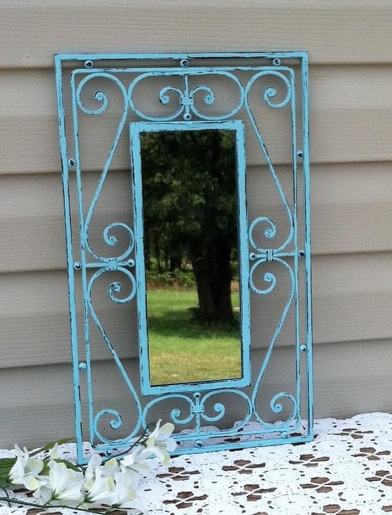 Aqua Country French Mirror / Cast Iron Wall Mirror / Beach Decor