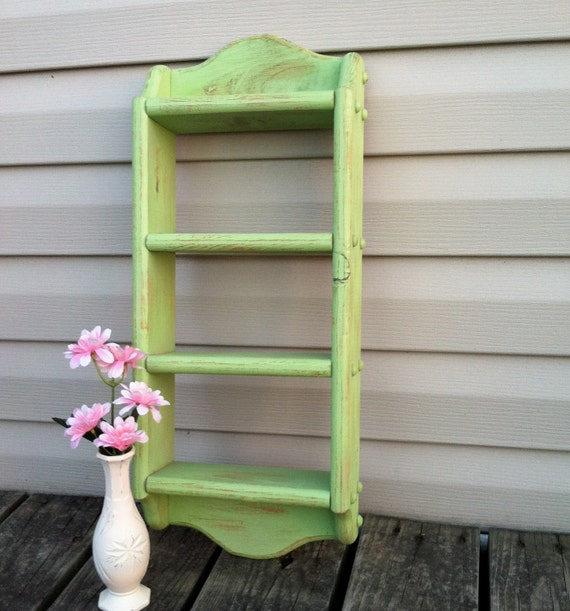 Green Apple Shelf / Vintage Wood Shelf / Kids Room / Beach