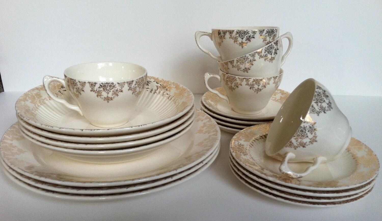 Circa 1930 Bridal Gold Dinnerware By Royal China