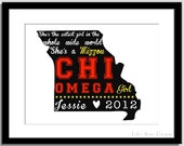 Chi Omega Girl State Print - Can do any sorority, any school and any colors :) Great graduation present