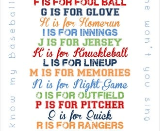 Baseball ABC Print for Nursery or Playroom - 11x17 print - Can do any colors :)