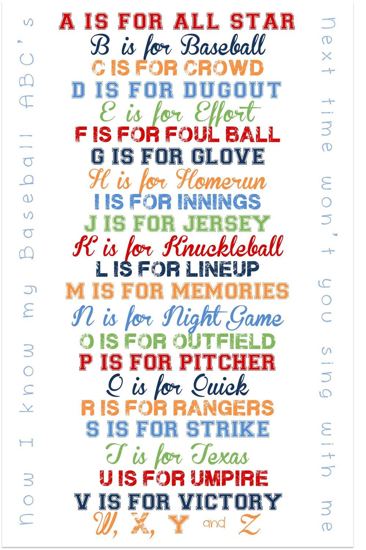 Baseball Abc Print For Nursery Or Playroom 11x17 Print Can