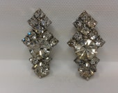 CLEAR Art Deco RHINESTONE Clip EARRINGS w/ Multifaceted Diamond Cast