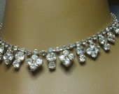 RHINESTONE DROP CHOKER Charm Necklace Silver-toned Round Multifaceted Stones 14 1/2 inches
